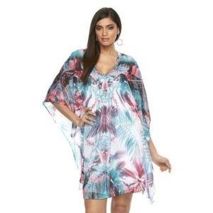 Jennifer Lopez Tropical Dress Teal Pink Size Large